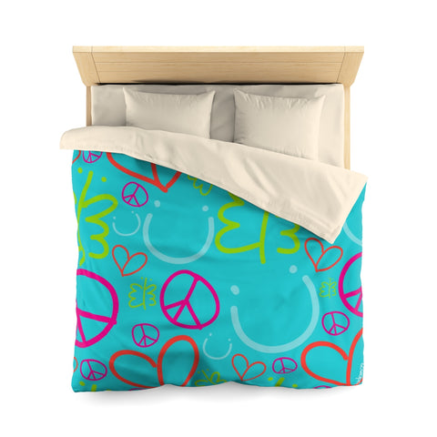 Biglove Blue Happiness Pattern Microfiber Duvet Cover - biglove