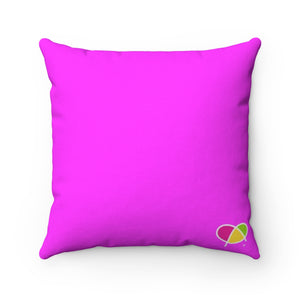 Happy Pink Spun Polyester Square Pillow Case - Biglove