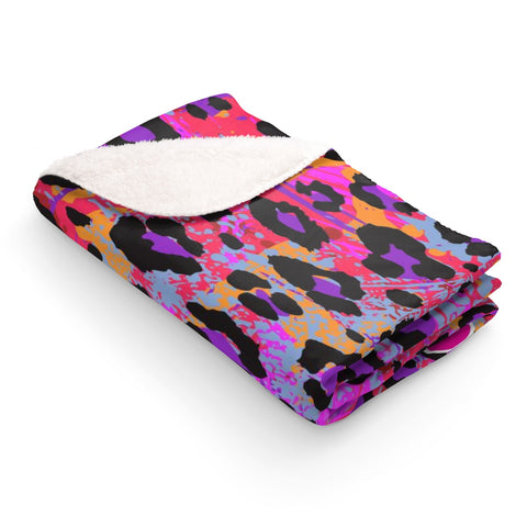 Wild Animal Print Sherpa Fleece Blanket - biglove