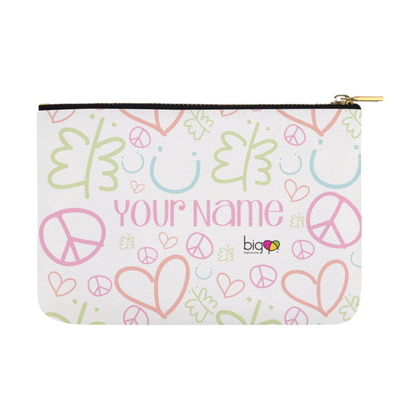 Personalized Large Carry-All Pouch 12.5''x8.5'' Pastel Logo Pattern - Biglove
