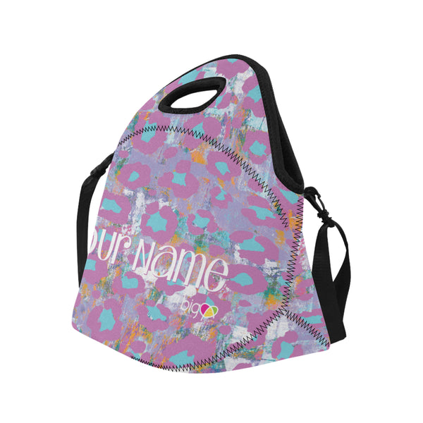 Personalized BIG Neoprane Lunch Bag Light Purple Animal Print - Biglove