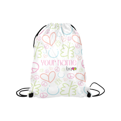 Personalized Drawstring Bag Pastel Logo Pattern