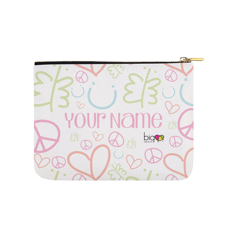 Personalized Small Carry-All Pouch 8''x 6'' Pastel Logo Pattern - Biglove