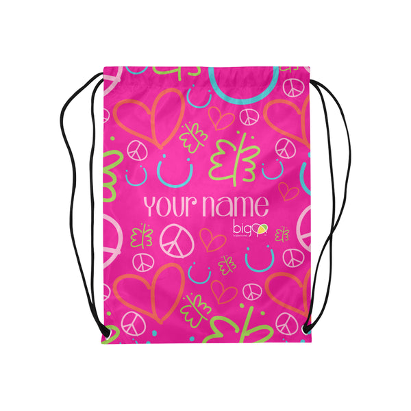 Personalized Drawstring Bag Pink Logo Pattern