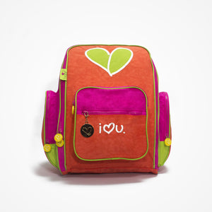 Embroidered Big Backpack for Girls Love | Red - biglove