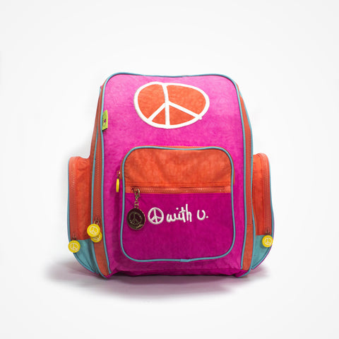 Embroidered Big Backpack for Girls Peace | Pink - biglove