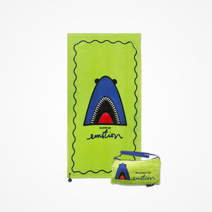 Cotton Beach Towel and Bag Shark | Green - Biglove