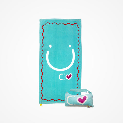 Cotton Beach Towel and Bag Happiness | Blue - biglove