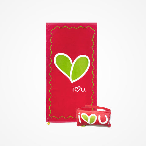 Cotton Beach Towel and Bag Love | Red - biglove
