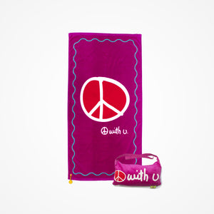 Cotton Beach Towel and Bag Peace | Pink - biglove
