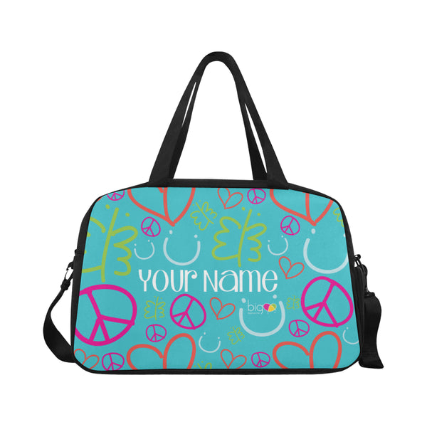 Personalized Fitness Handbag Blue Logo Pattern