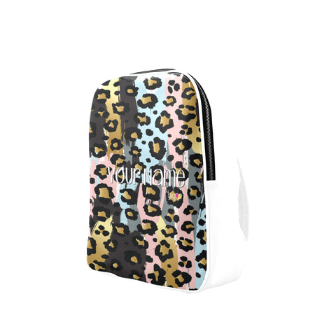 Personalized Leather Backpack Pastel Animal Print - biglove
