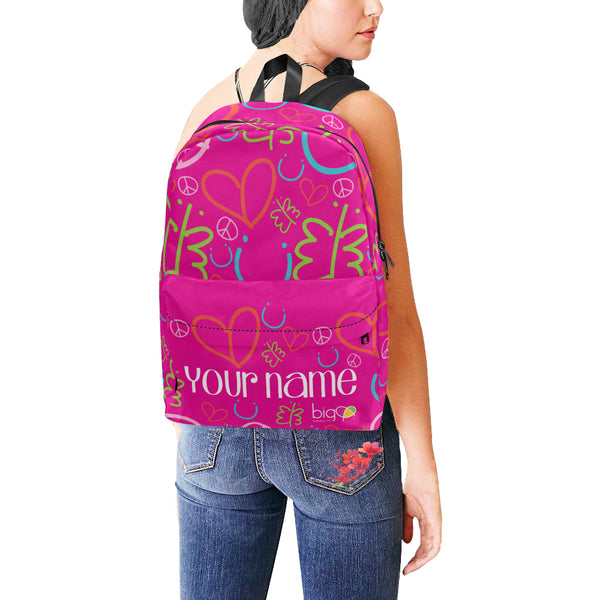 Personalized Classic Backpack Pink Logo Pattern - Biglove
