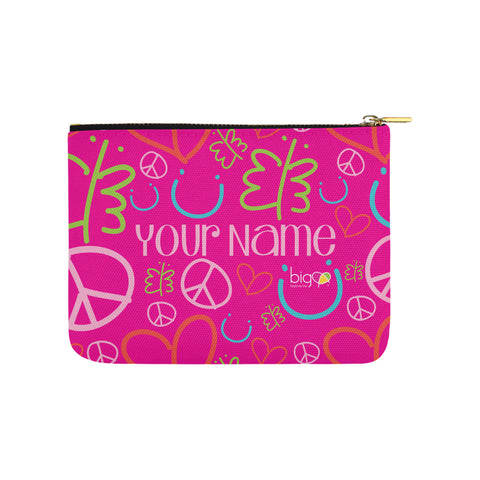 Personalized Small Carry-All Pouch 8''x 6'' Pink Logo Pattern - Biglove