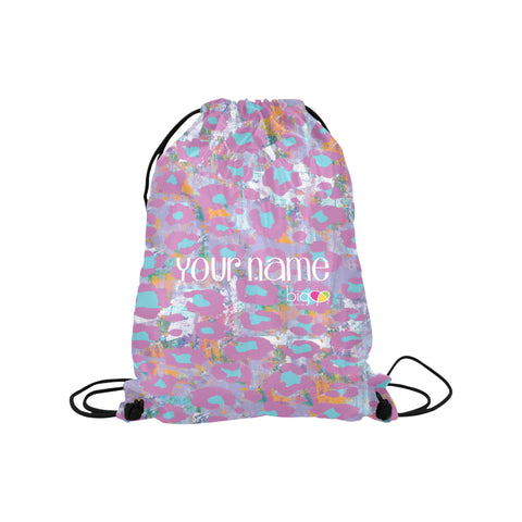 Personalized Drawstring Bag Light Purple Animal Print