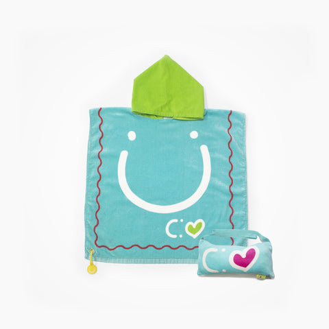 Cotton Hooded Towel with Bag for Kids Happiness | Blue - biglove