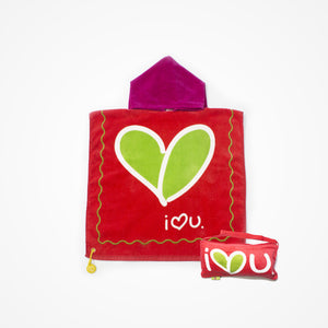 Cotton Hooded Towel with Bag for Kids Love | Red - biglove