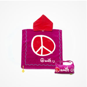 Cotton Hooded Towel with Bag for Kids Peace | Pink - biglove