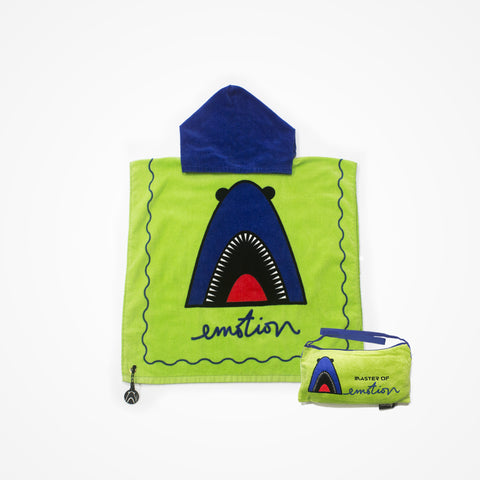 Cotton Hooded Towel with Bag for Kids Shark | Green - biglove