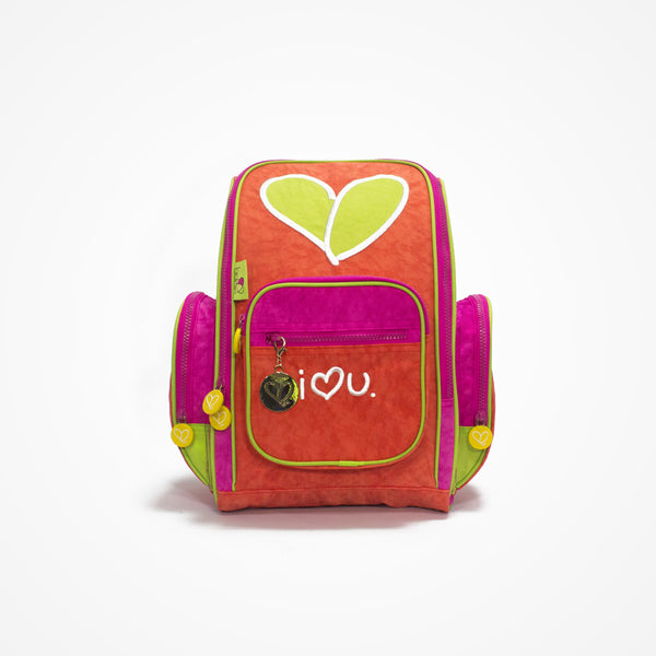 Embroidered Small Backpack for Girls Love | Red - Biglove