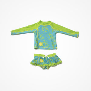 Swim Rashguard Shirt with Skirt for Girls Freedom | Green - biglove