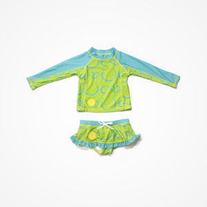 Swim Rash Guard Shirt with Skirt for Girls Happiness | Green - Biglove