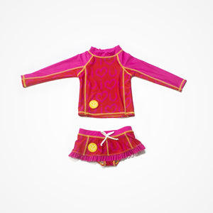 Swim Rash Guard Shirt with Skirt for Girls Love | Red - biglove