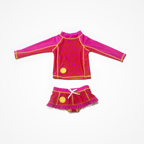 Swim Rashguard Shirt with Skirt for Girls Love | Red - biglove