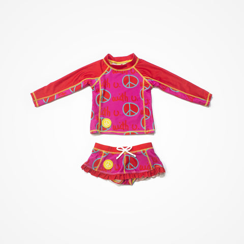 Swim Rashguard Shirt with Skirt for Girls Peace | Pink - biglove