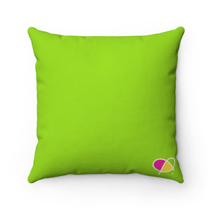 Happy Green Spun Polyester Square Pillow Case - Biglove