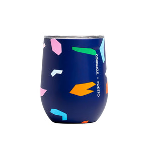 Personalized 12 oz Triple-Insulated Stemless Glass (Perfect for Wine) - Blue Confetti - Biglove