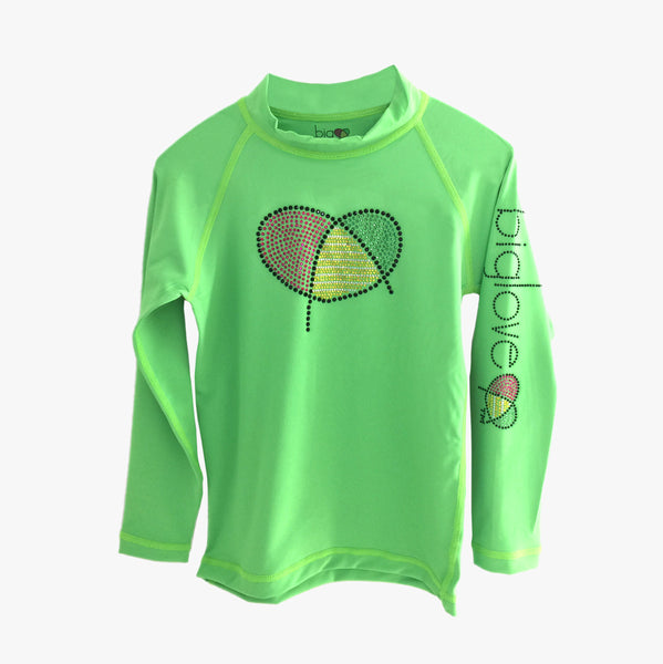 Biglove Logo Rash Guard with Rhinestones for Girls | Green - Biglove