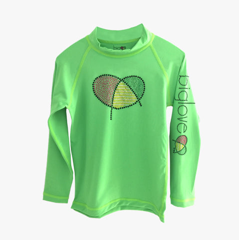 Biglove Logo Rashguard with Rhinestones for Girls | Green - biglove