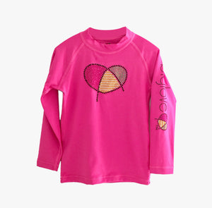 Biglove Logo Rash Guard with Rhinestones for Girls | Pink - biglove