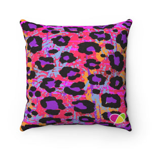 Wild Animal Print Faux Suede Square Pillow - biglove