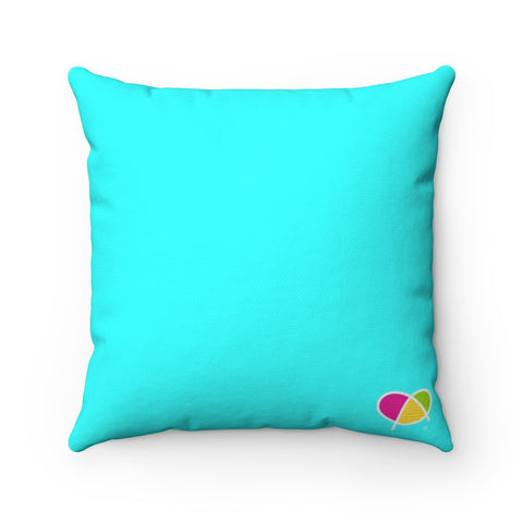 Happy Blue Spun Polyester Square Pillow - Biglove