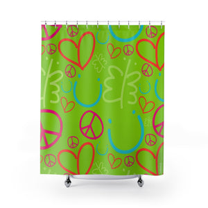 Biglove Pattern Green Shower Curtains - biglove