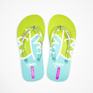 Printed Rubber Flip Flops for Kids Freedom | Green - biglove