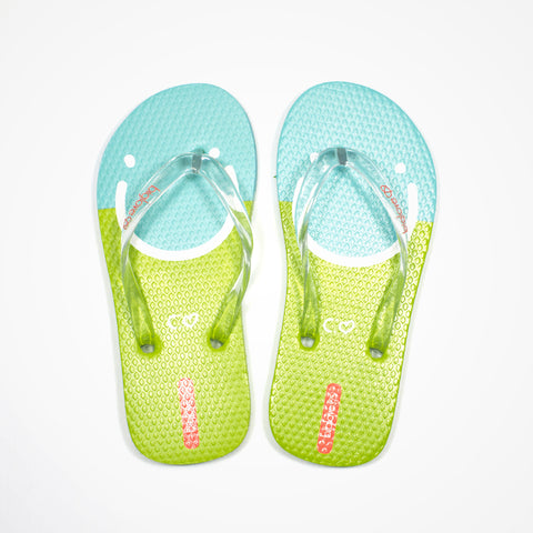 Printed Rubber Flip Flops for Kids Happiness | Blue - biglove