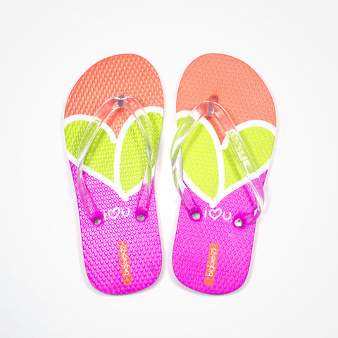 Printed Rubber Flip Flops for Kids Love | Red - biglove