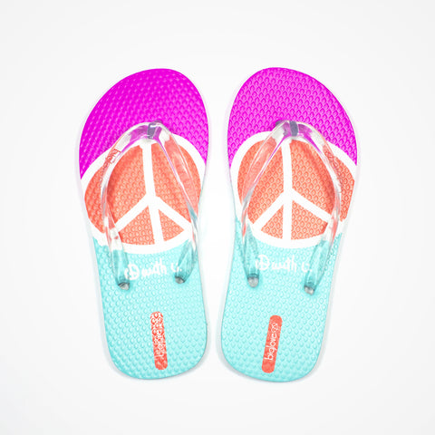 Printed Rubber Flip Flops for Kids Peace | Pink - biglove