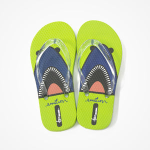 Printed Rubber Flip Flops for Kids | Shark | Green - biglove