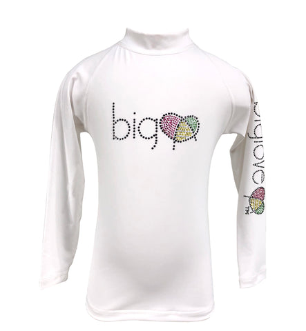 Biglove Logo Rash Guard with Rhinestones for Girls | White - biglove