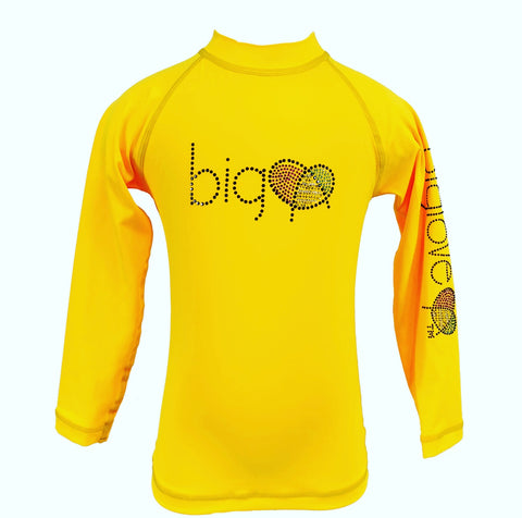 Biglove Logo Rash Guard with Rhinestones for Girls | Yellow - biglove