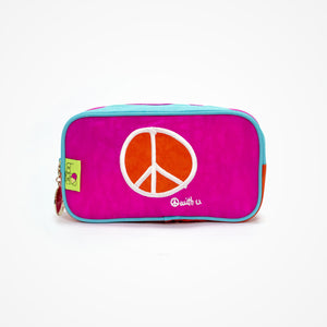 Small Rectangular Accessory Bag Peace | Pink - Biglove