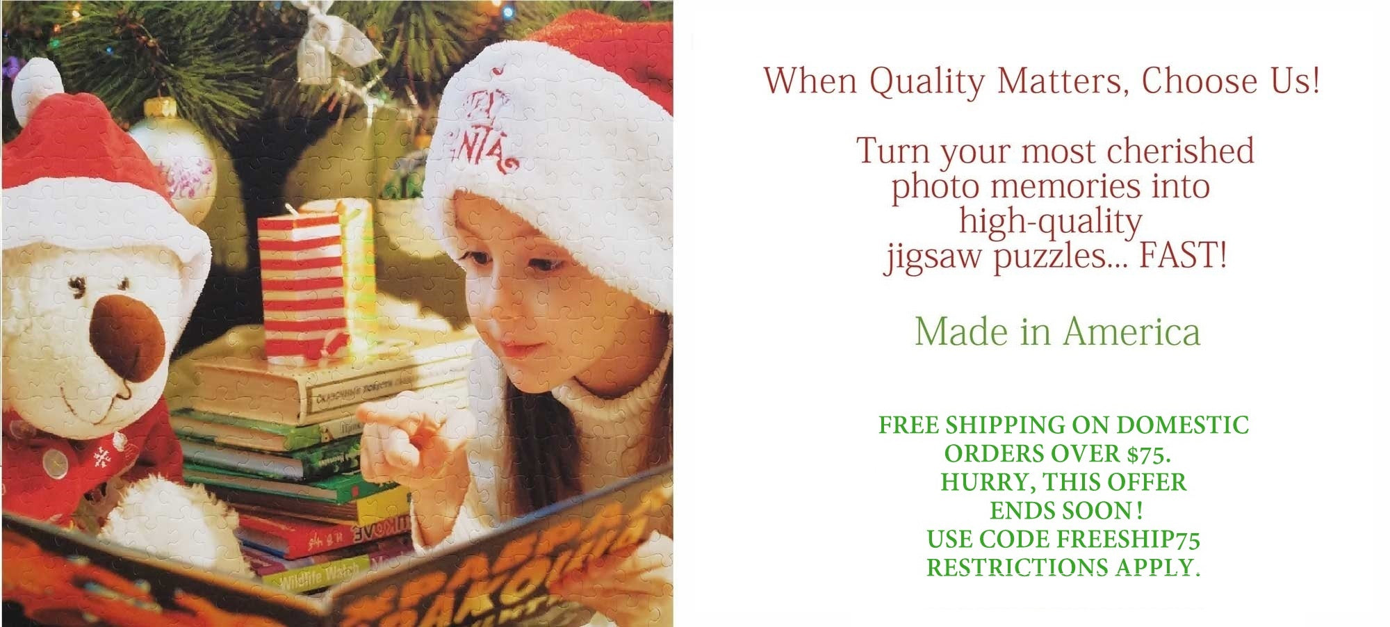 BEST CUSTOM PERSONALIZED PUZZLE FAST MADE IN AMERICA.  BEAR WITH GIRL AT CHRISTMAS ON A CUSTOM PUZZLE