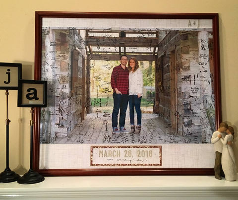 Wedding Guest Book from a customer love.  Cut puzzle guestbook with custom photo