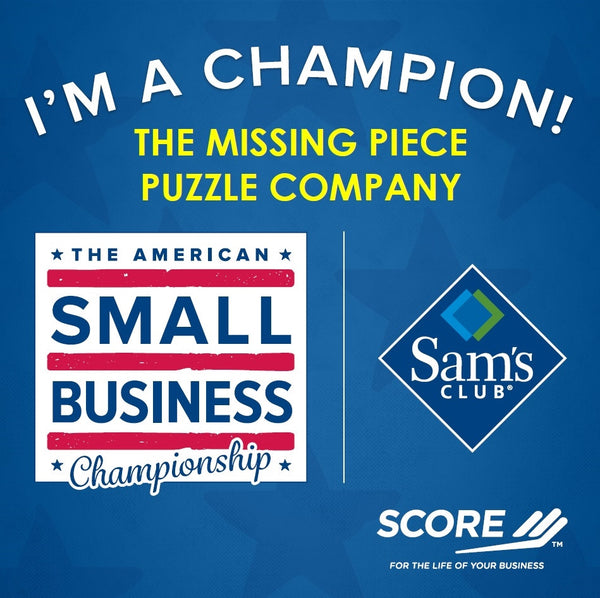 American Small Business Champion names The Missing Piece Puzzle Company winner.  Sams Club and Score Mentors