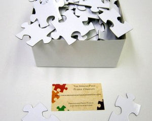 White Puzzle Pieces for Guest Book Puzzle.  104 piece white puzzle | The Missing Piece Puzzle Company