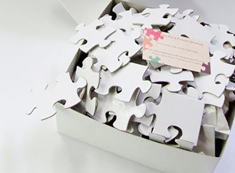 Blank White Puzzle for a Unique Wedding Guest Book  - 80 Puzzle Pieces (approx. 16 x 20)